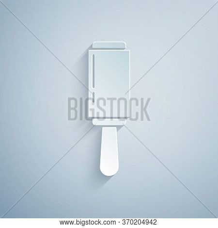 Paper Cut Adhesive Roller For Cleaning Clothes Icon Isolated On Grey Background. Getting Rid Of Debr