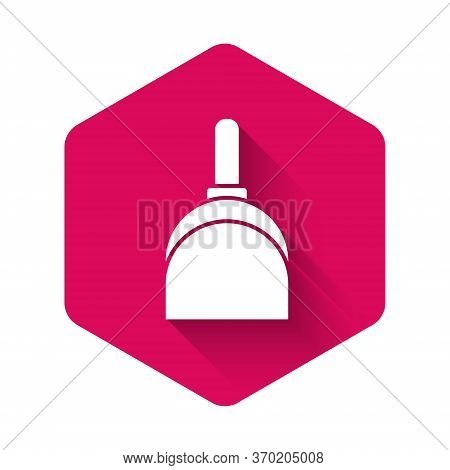 White Dustpan Icon Isolated With Long Shadow. Cleaning Scoop Services. Pink Hexagon Button. Vector I