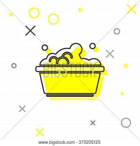 Grey Line Plastic Basin With Soap Suds Icon Isolated On White Background. Bowl With Water. Washing C