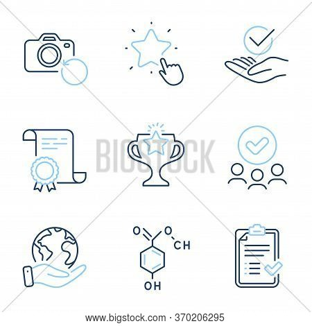 Victory, Chemical Formula And Ranking Star Line Icons Set. Diploma Certificate, Save Planet, Group O
