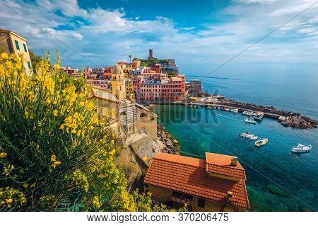 Vernazza Resort And Harbor With Boats In Cinque Terre National Park. Popular Touristic And Travel Lo