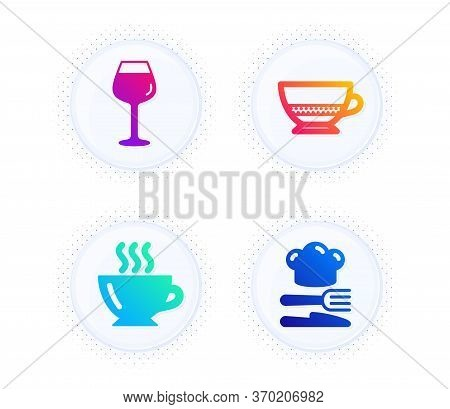 Bordeaux Glass, Coffee And Bombon Coffee Icons Simple Set. Button With Halftone Dots. Food Sign. Win
