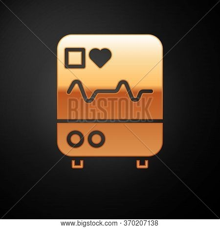 Gold Computer Monitor With Cardiogram Icon Isolated On Black Background. Monitoring Icon. Ecg Monito
