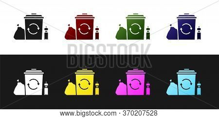 Set Recycle Bin With Recycle Symbol Icon Isolated On Black And White Background. Trash Can Icon. Gar