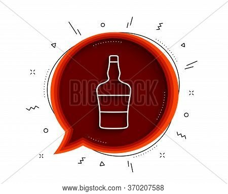 Scotch Bottle Line Icon. Chat Bubble With Shadow. Brandy Alcohol Sign. Thin Line Scotch Bottle Icon.