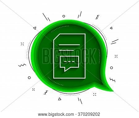 Document With Comments Line Icon. Chat Bubble With Shadow. Information File With Speech Bubble Sign.