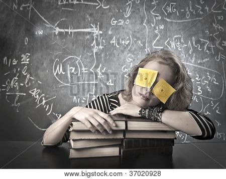 Masked girl. Background blackboard