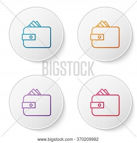 Color Line Wallet With Stacks Paper Money Cash Icon Isolated On White Background. Purse Icon. Cash S