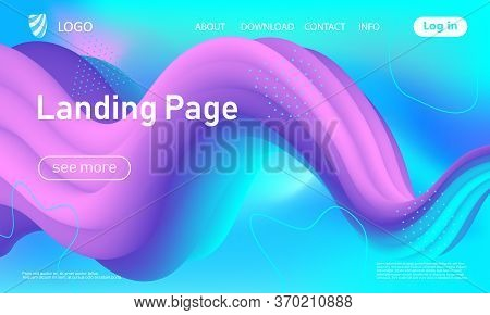 3d Poster. Liquid Color. Fluid Background. Colorful Futuristic Design. Abstract Flow. Vibrant Color.
