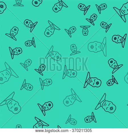 Black Line Man With Third Eye Icon Isolated Seamless Pattern On Green Background. The Concept Of Med