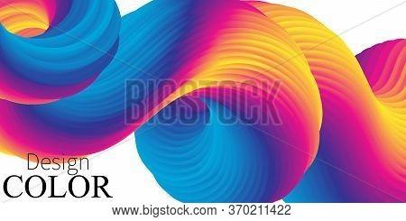 Vibrant Color. Fluid Shape. Liquid Background. Trendy Abstract Cover. 3d Flow. Futuristic Design Pos