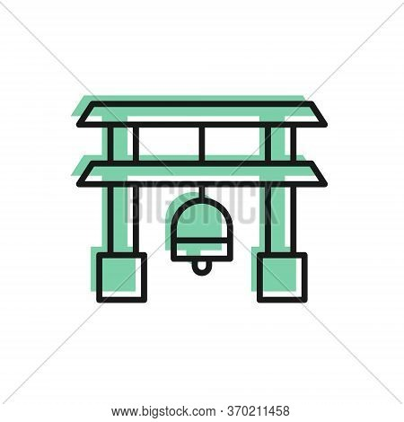 Black Line Japan Gate Icon Isolated On White Background. Torii Gate Sign. Japanese Traditional Class