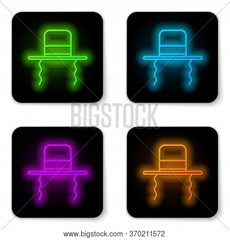 Glowing Neon Line Orthodox Jewish Hat With Sidelocks Icon Isolated On White Background. Jewish Men I