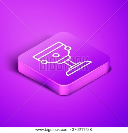 Isometric Line Christian Chalice Icon Isolated On Purple Background. Christianity Icon. Happy Easter