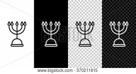 Set Line Hanukkah Menorah Icon Isolated On Black And White Background. Hanukkah Traditional Symbol.
