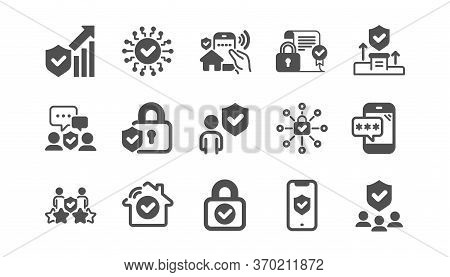 Security Icons Set. Cyber Lock, Password, Unlock. Guard, Shield, Home Security System Icons. Electro