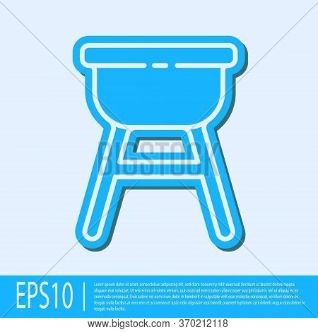 Blue Line Barbecue Grill Icon Isolated On Grey Background. Bbq Grill Party. Vector Illustration