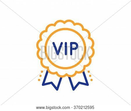 Vip Award Line Icon. Very Important Person Medal Sign. Member Club Privilege Symbol. Colorful Thin L