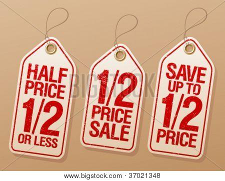 Half price save, promotional sale labels set.