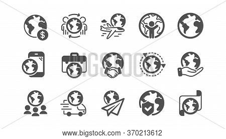 World Business Icons Set. Translate Language, Global Law, Outsource Business. International Organiza