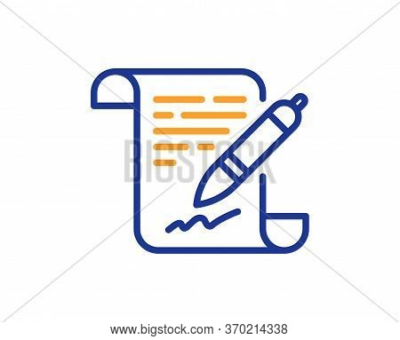Agreement Document Line Icon. Contract File Signature Sign. Office Note Symbol. Colorful Thin Line O