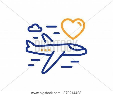 Honeymoon Travel Line Icon. Love Trip Sign. Valentines Day Flight Symbol. Colorful Thin Line Outline
