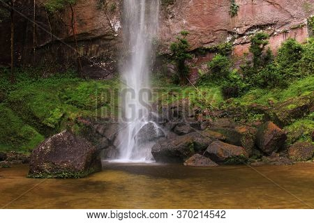 Relaxing Place Near Waterfall And Natural Stone Wall, In Harau Valley, West Sumatra, Indonesia