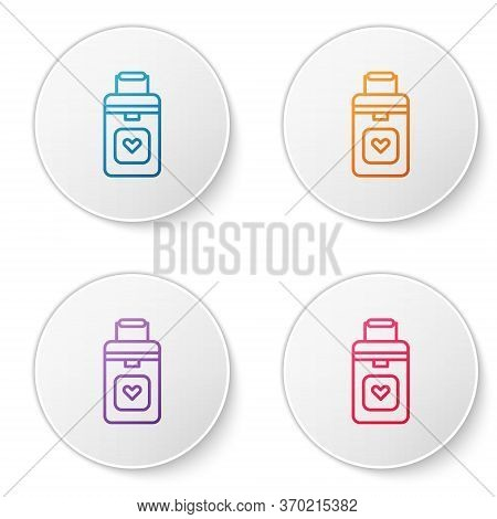 Color Line Cooler Box For Human Organs Transportation Icon Isolated On White Background. Organ Trans