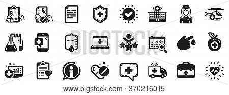 Hospital Assistance, Ambulance, Health Food Diet, Laboratory Tubes Icons. Medical Rx Icons. First Ai