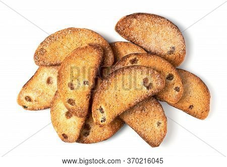 Sweet Rusks With Raisins Sprinkled With Sugar On A White Background. Isolated Image, A Concept For Y