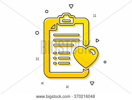 Hospital Patient History Sign. Medical Survey Icon. Yellow Circles Pattern. Classic Patient History