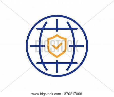 Global Insurance Line Icon. Travel Risk Coverage Sign. Policyholder Protection Symbol. Colorful Thin