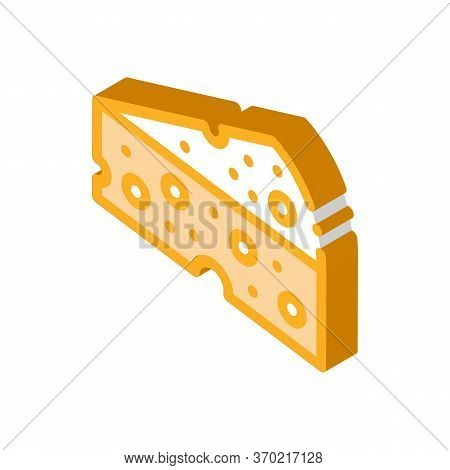 Piece Of Hard Cheese Icon Vector. Isometric Piece Of Hard Cheese Sign. Color Isolated Symbol Illustr
