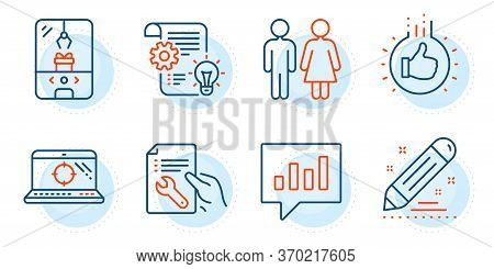 Seo Laptop, Crane Claw Machine And Like Hand Signs. Analytical Chat, Cogwheel And Restroom Line Icon