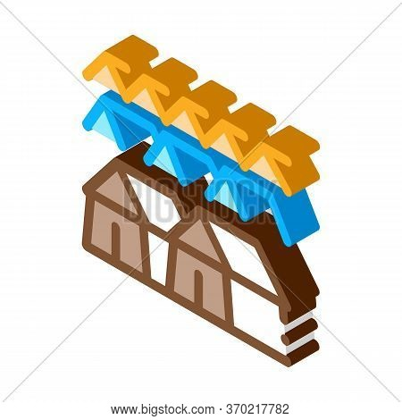 Pilgrimage Houses Icon Vector. Isometric Pilgrimage Houses Sign. Color Isolated Symbol Illustration