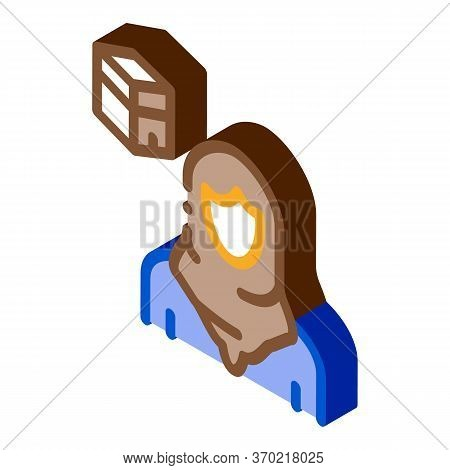 Muslim Woman Pilgrim Icon Vector. Isometric Muslim Woman Pilgrim Sign. Color Isolated Symbol Illustr