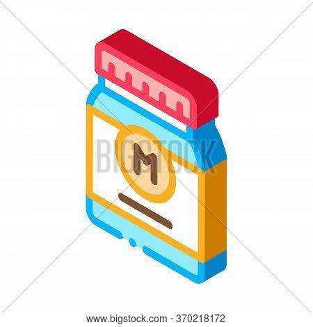 Jar Of Mayonnaise Sauce Icon Vector. Isometric Jar Of Mayonnaise Sauce Sign. Color Isolated Symbol I