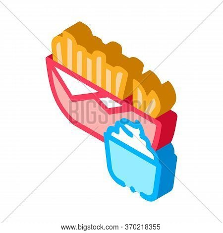 French Fries With Mayonnaise Sauce Icon Vector. Isometric French Fries With Mayonnaise Sauce Sign. C