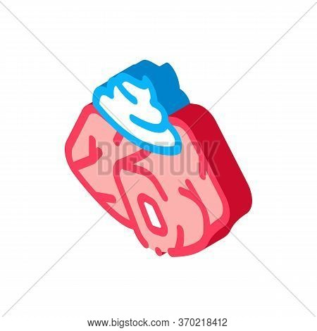Pieces Of Meat With Mayonnaise Seasoning Icon Vector. Isometric Pieces Of Meat With Mayonnaise Seaso