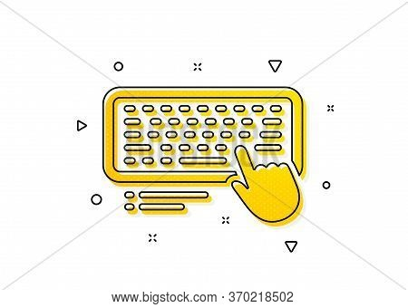 Computer Component Device Sign. Keyboard Icon. Yellow Circles Pattern. Classic Computer Keyboard Ico