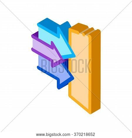 Sound Coming In Door Icon Vector. Isometric Sound Coming In Door Sign. Color Isolated Symbol Illustr