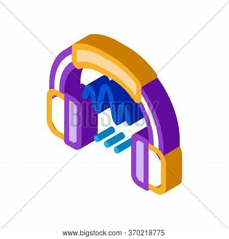 Headphone Sound Icon Vector. Isometric Headphone Sound Sign. Color Isolated Symbol Illustration