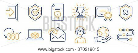 Set Of Business Icons, Such As Reject Protection, Online Delivery. Certificate, Save Planet. Exit, R