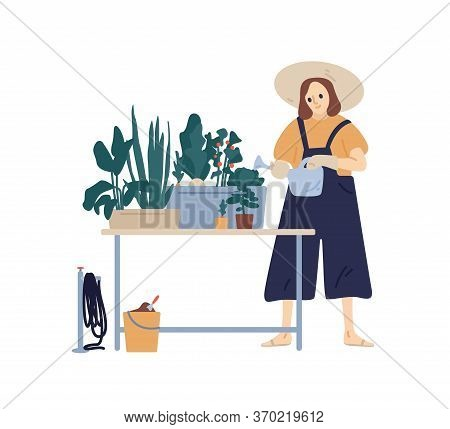 Happy Female In Hat Enjoying Home Gardening Hobby Vector Flat Illustration. Funny Plant Lady With Wa