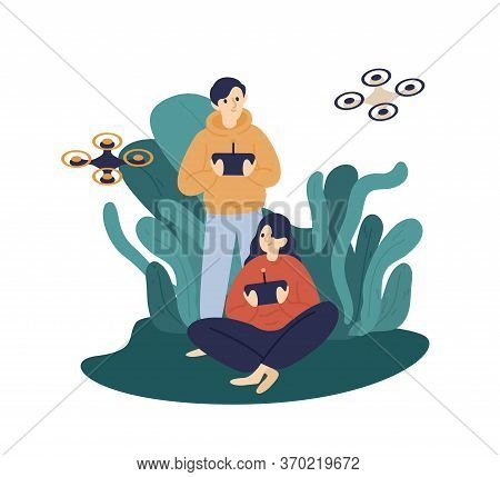 Happy Man And Woman Hold Remote Control Of Quadcopter Vector Flat Illustration. Couple Hide In Bushe