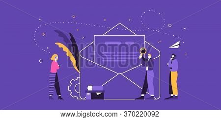 Business Team Examines New Contract. Success In Business And Contract Details Flat Vector Illustrati