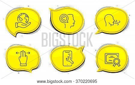Breathing Exercise Sign. Diploma Certificate, Save Planet Chat Bubbles. Writer, Multitasking Gesture