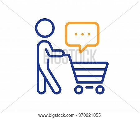 Buyer With Shopping Cart Line Icon. Customer Think Bubble Sign. Supermarket Client Symbol. Colorful