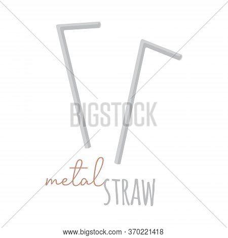 Metal Straw Vector Illustration Graphic. Hand Drawn Zero Waste, Environment Friendly Metal Straws Wi