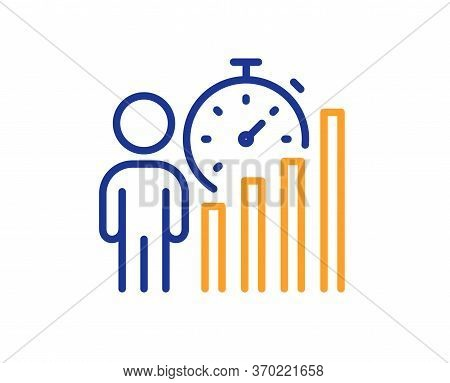 Business Statistics Line Icon. Meeting Report Sign. Employees Working Results Symbol. Colorful Thin